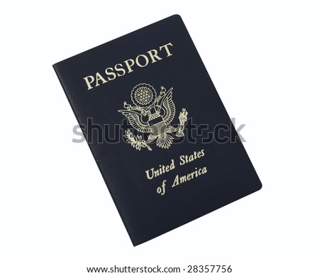United States passport with clipping path - stock photo