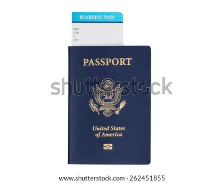 United States passport, with seal,  and boarding pass isolated on white background.  - stock photo