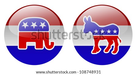 United States political party buttons - stock photo