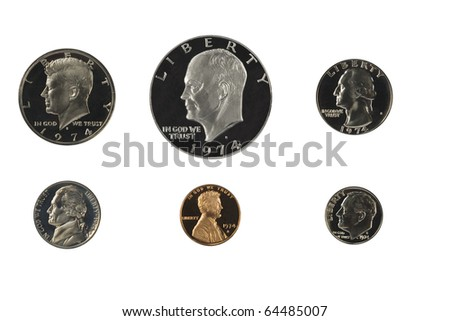 United states proof coins isolated on white - stock photo
