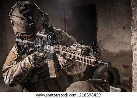 united states ranger aiming with assault rifle - stock photo