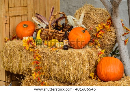 UNITED STATES, SAN DIEGO - OCTOBER 31, 2012 - composition of pumpkins and root beer to get ready for halloween party