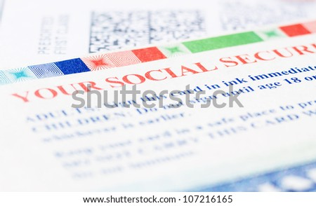 United States Social security Blue Card - stock photo