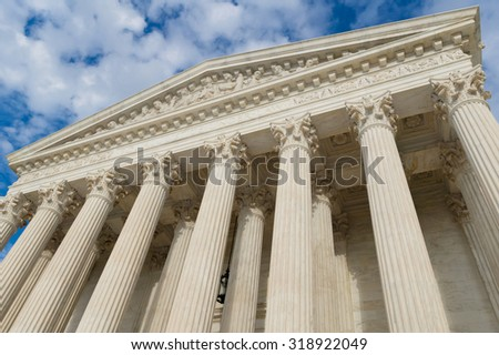 UNITED STATES supreme court building columns and  portico - stock photo