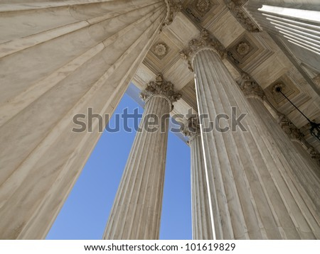 United States supreme court building columns in Washington DC. - stock photo