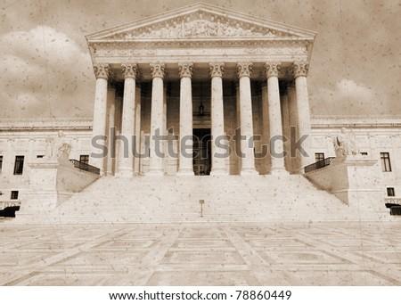 United States Supreme court building in vintage sepia imitation - stock photo