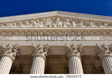 United States Supreme Court Building Pillars - stock photo