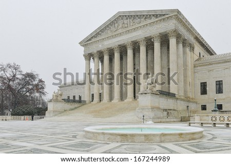 United States Supreme Court in snow - Washington DC   - stock photo
