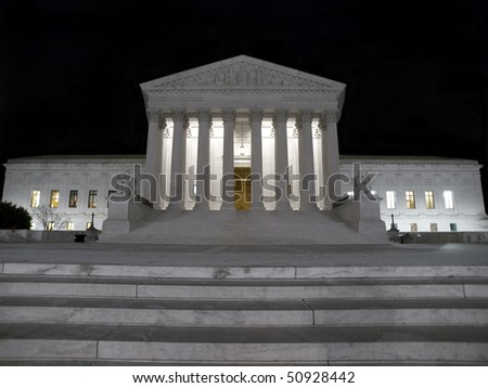 United States Supreme Court on a cold winter night. - stock photo