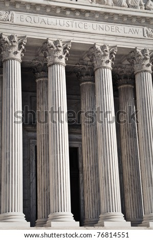 United States Supreme Court Pillars of Justice and Law - stock photo