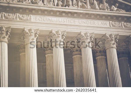 United States Supreme Court Pillars of Justice and Law with Retro Instagram Style Filter - stock photo