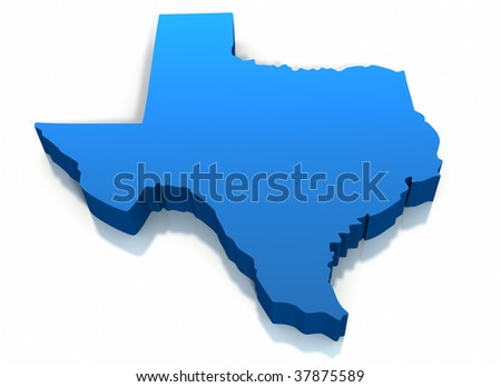 United States Texas Map Outline on a white background. Clipping path included. - stock photo