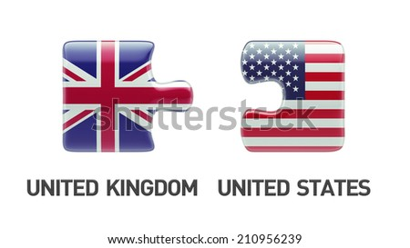 United States United Kingdom High Resolution Puzzle Concept - stock photo