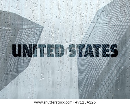 United States written on a foggy window