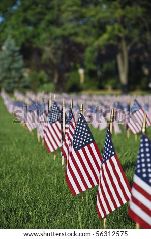 United we stand.Hundreds of US flags - stock photo