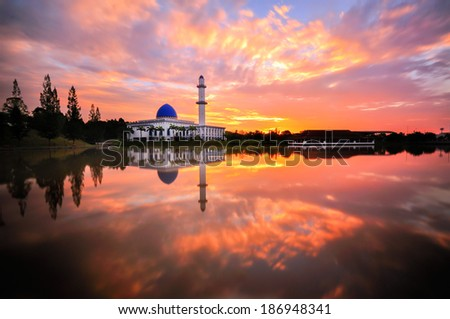 Uniten mosque or Blue Mosque during sunrise - stock photo