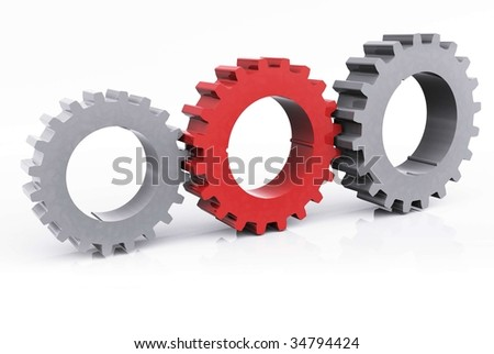 Unity Cogs with red Cog - stock photo