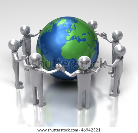 Unity for Ecology - [ characters holding hands in a chain around earth ] - stock photo