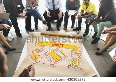 Unity Teamwork Cooperation Collaboration Concept - stock photo