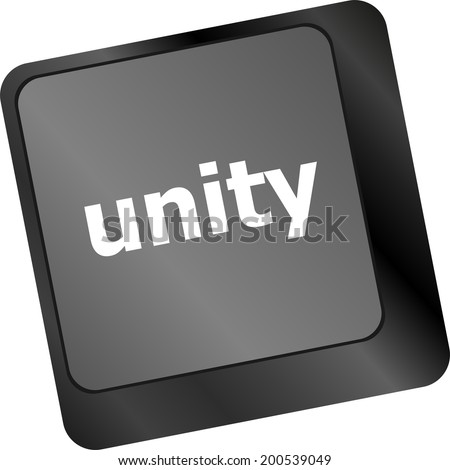 unity word on computer keyboard pc key isolated on white