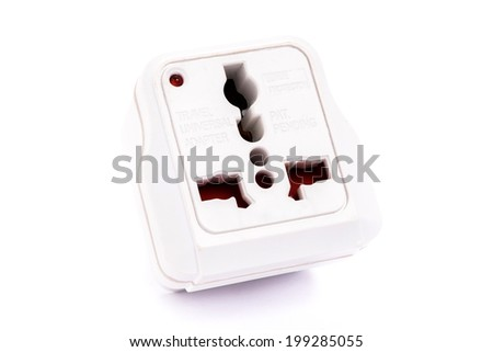 universal adapter isolated on white background - stock photo