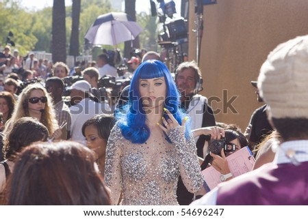 UNIVERSAL CITY, CA - JUNE 06: Katy Perry arrives on the Red Carpet at the 2010 MTV Movie Awards at Gibson Amphitheatre on June 6, 2010 in Universal City, California. (Photo by Jonathan Nowak) - stock photo