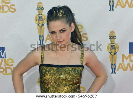 UNIVERSAL CITY, CA - JUNE 06: Kristen Stewart arrives on the Red Carpet at the 2010 MTV Movie Awards at Gibson Amphitheatre on June 6, 2010 in Universal City, California. (Photo by Jonathan Nowak) - stock photo