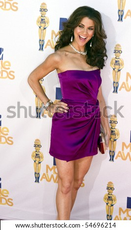 UNIVERSAL CITY, CA - JUNE 06: Samantha Harris arrives on the Red Carpet at the 2010 MTV Movie Awards at Gibson Amphitheatre on June 6, 2010 in Universal City, California. (Photo by Jonathan Nowak) - stock photo