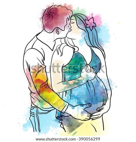 Universal Creative Illustration Pregnant Her Husband Stock Illustration 390056305 - Shutterstock