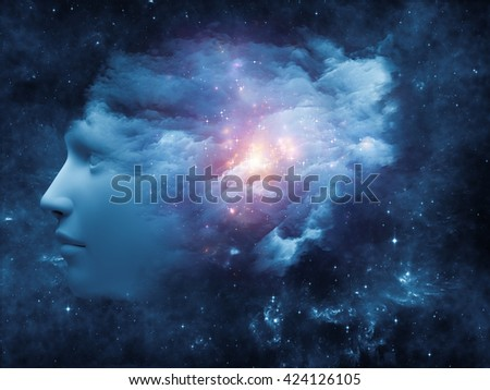 Universal Mind series. Composition of human head and fractal clouds with metaphorical relationship to mind, dreams, thinking, consciousness and imagination - stock photo