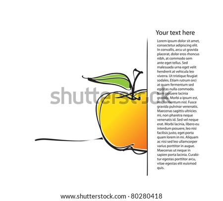 universal page layout with apple icon, freehand drawing (raster version) - stock photo