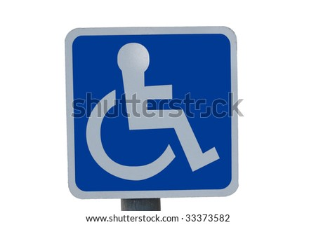 universal wheel chair sign isolated on white - stock photo