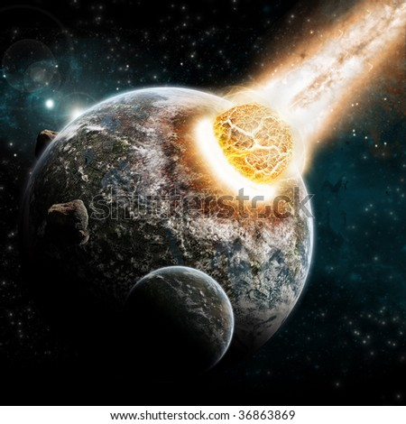 Universe and planet exploration - Earth Apocalypse explosion - stock photo