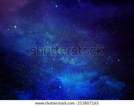 Universe filled with stars, nebula - stock photo