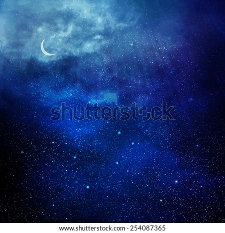 Universe filled with stars, nebula and moon - stock photo