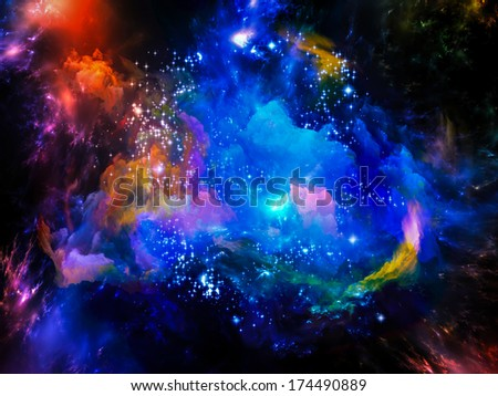 Universe Is Not Enough series. Arrangement of fractal elements, lights and textures on the subject of fantasy, science, religion and design - stock photo