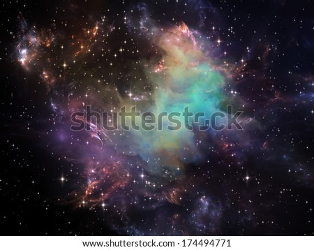 Universe Is Not Enough series. Artistic background made of fractal elements, lights and textures for use with projects on fantasy, science, religion and design - stock photo