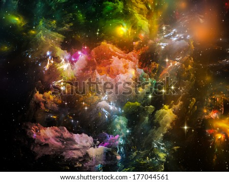 Universe Is Not Enough series. Backdrop design of fractal elements, lights and textures to provide supporting composition for works on fantasy, science, religion and design - stock photo