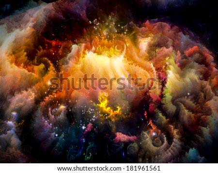 Universe Is Not Enough series. Composition of  fractal elements, lights and textures to serve as a supporting backdrop for projects on fantasy, science, religion and design - stock photo
