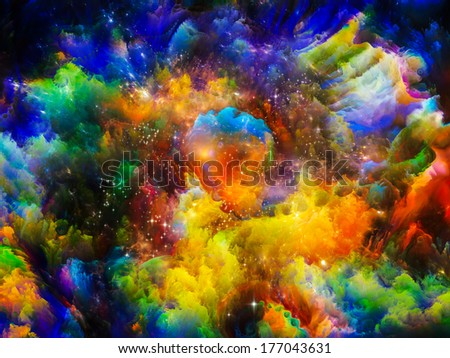 Universe Is Not Enough series. Creative arrangement of fractal elements, lights and textures to act as complimentary graphic for subject of fantasy, science, religion and design - stock photo