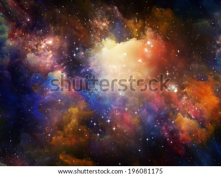 Universe Is Not Enough series. Design composed of fractal elements, lights and textures as a metaphor on the subject of fantasy, science, religion and design - stock photo