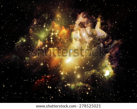 Universe Is Not Enough series. Visually pleasing composition of fractal elements, lights and textures to serve as  background in works on fantasy, science, religion and design - stock photo