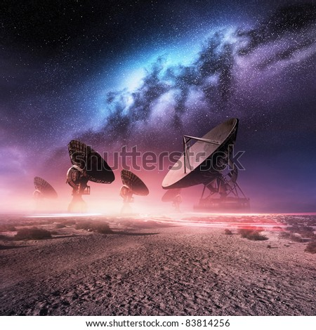 Universe Observatory. A group of telescopes and the Milky Way.