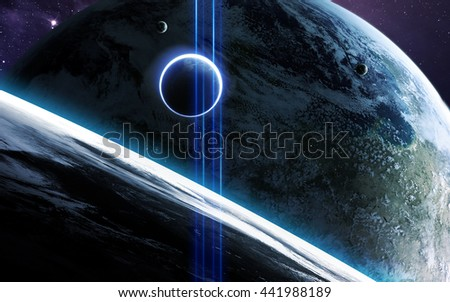 Universe scene with planets, stars and galaxies in outer space showing the beauty of space exploration. Elements furnished by NASA - stock photo