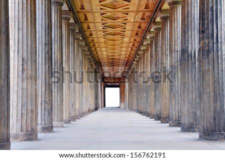 University building, stone columns - stock photo