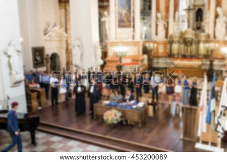 University diplomas and dean with professors, blur view. - stock photo