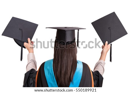 University graduates on isolated background,clipping path