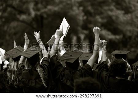 University graduation ceremonies on Commencement Day  - stock photo