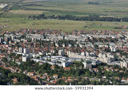 University of Brasov and campus, aerial view - stock photo
