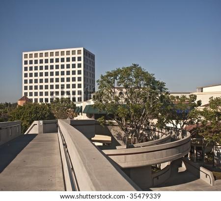 University of California at Irvine- Footbridge to University Center - stock photo